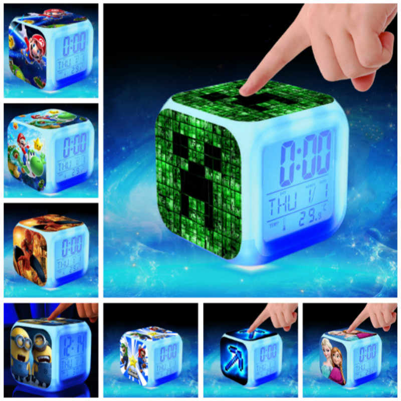 Hot Sale Jam Alarm Digital Mainan Anak Super Mario Spider Man LED Reloj Despertador Minion Wake Up Lampu Wekker Reveil