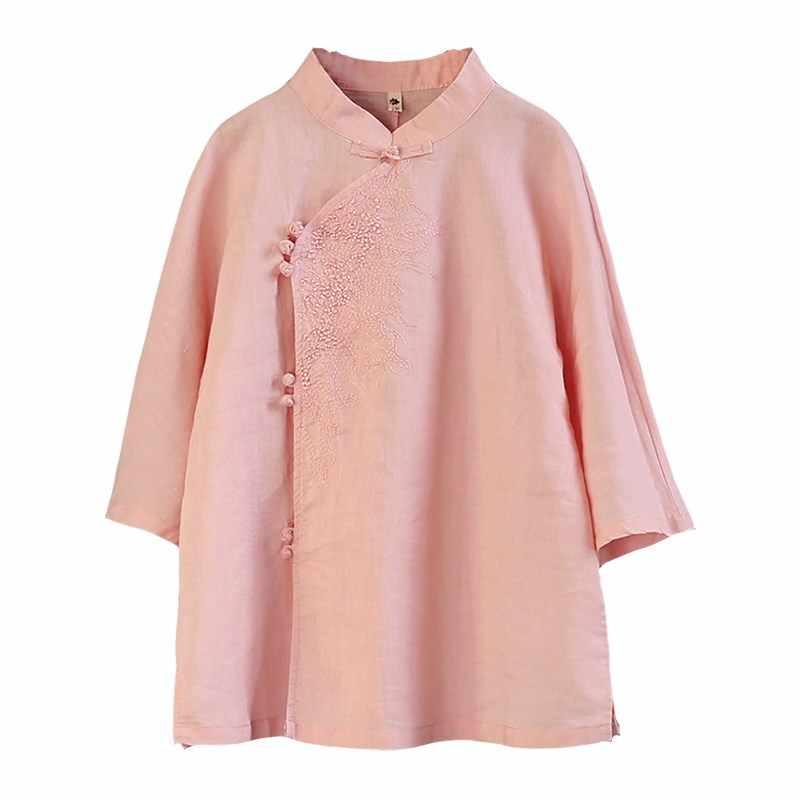 Летняя новинка, китайский стиль, Ретро стиль, стенд, воротник, пластина, пряжка, диагональная вышивка, семь точек, рукав, женская рубашка