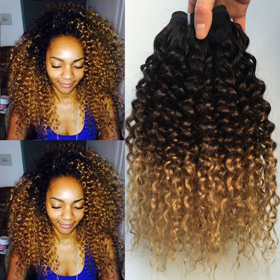 Ombre Kinky Curly Hair Brazilian Human Hair Weave Bundles 1B 4 27 Remy Afro Jerry Curly