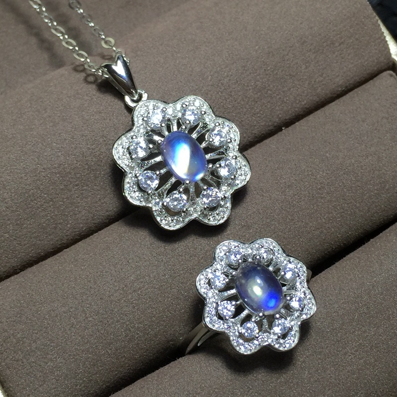 MeiBaPJ High Quality Natural Opal Gemstone Flower Ring and Necklace 2 Siut for Women Real 925 Sterling Silver Fine Jewelry Set