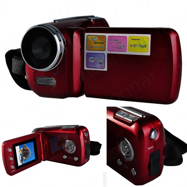 top quality mini dv 18 inch d1 pcs camera 4 x digital zoom 12 mega pixel tft lcd camcorder with hand grip blackred lsda0471