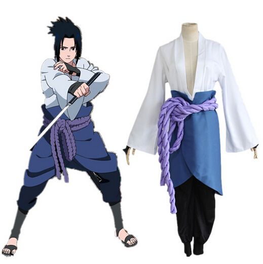 Uchiha Sasuke Cosplay Costumes Anime Naruto Shippuden Clothing Third Generation Clothes (Blazer+pants+Waist Rope+handguard S-2XL
