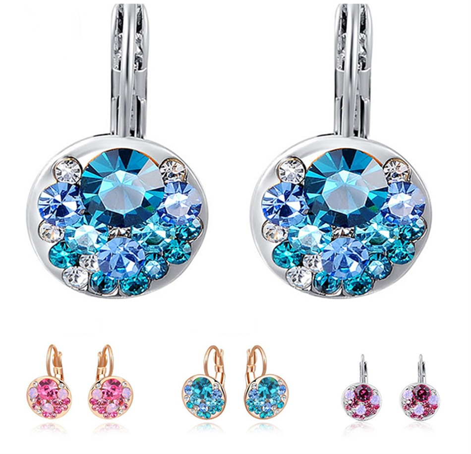 HTB1VFCNaoLrK1Rjy0Fjq6zYXFXaK - Luxury Ear Stud Earrings For Women Fashion Round Charm Jewelry Romantic Lovely Accessories Gift Wholesale