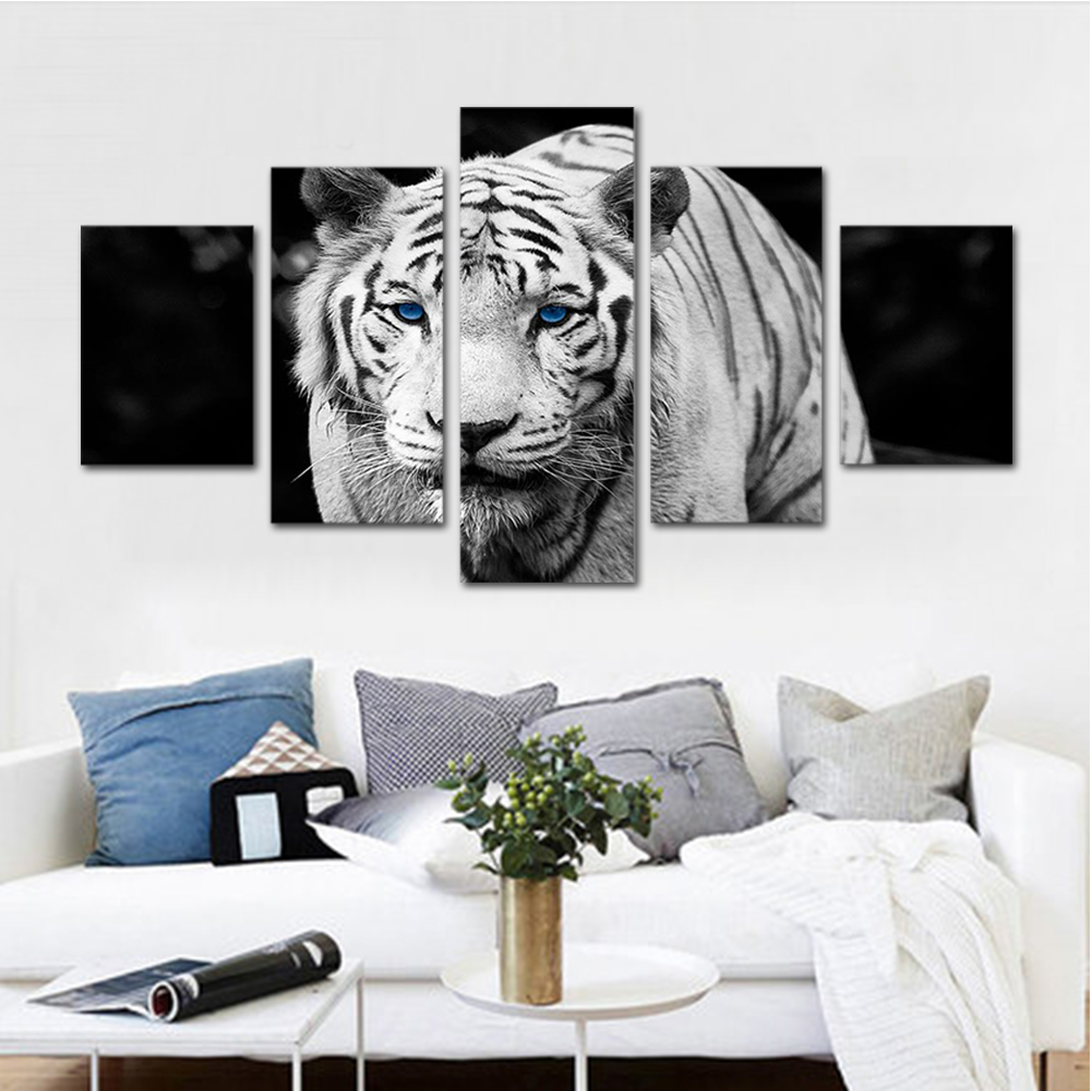 Unframed HD Print 5 Canvas Art Painting Black And White Picture Tiger Living Room Decoration Spray Painting Mural Unframed
