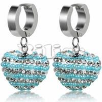 Fashion Multicolor Blue Silver Crystal Rhinestone Beads Heart Shamballa Earrings Drop Earring For Women Girls Bijoux