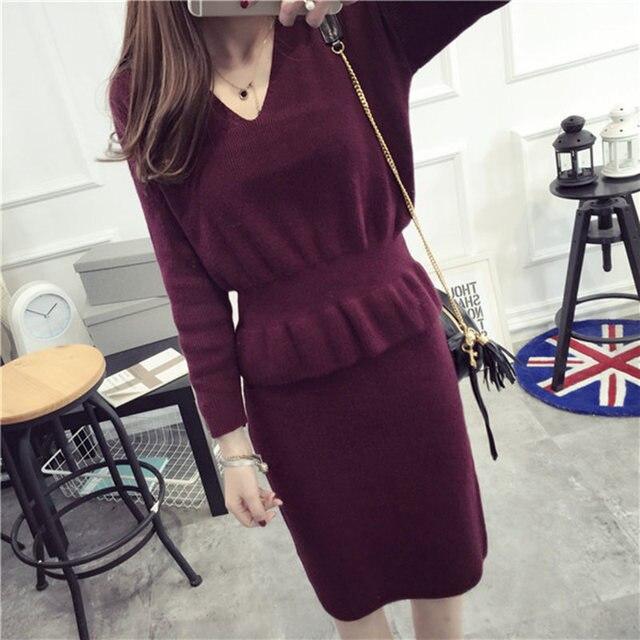 Fashion Autumn 2 Pieces Sweater Dress Set Women Long Sleeve Slim Knitted Crop Tops And Skirt Suit Brand Short Skirt Set Twinset