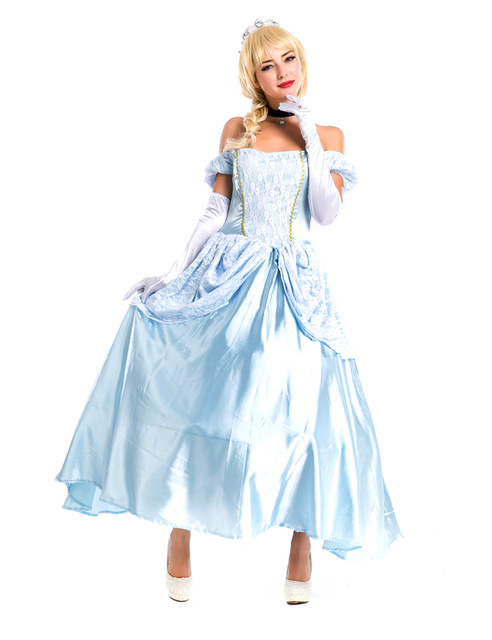 2d430ed2e58 Lake Blue Movie Sexy Cinderella Princess Adult Cosplay Costume Deluxe Party  Women Fancy Dress Halloween Masquerade
