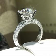 Klasyczna kobieta 100 Soild 925 srebrny pierścień 1ct Sona 5A cyrkon kamień obrączka pierścionek zaręczynowy dla kobiet mężczyzn biżuteria tanie tanio Pierścionki Moda Wszystko kompatybilny Serce Zaręczyny Zespoły weselne SILVER Kobiety Cyrkonia vecalon 10mm Prong ustawianie