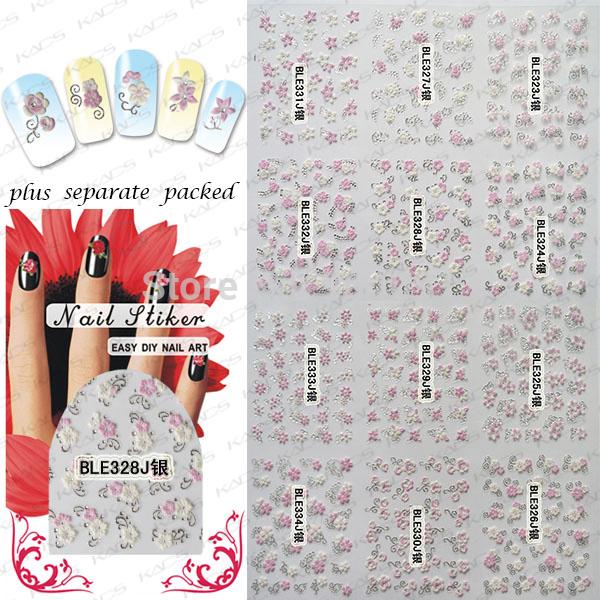 BeautyNailArt 50 Hoja/lot 3D serie de flores de Plata Accesorios de Uñas Etiqueta Engomada Del Clavo para el ARTE DEL CLAVO etiquetas