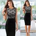 2016 Summer Dress OL Sleeveless Black Lace Sheath Knee Length Dress Formal Work Wear Prom Speech Dress S-XXL