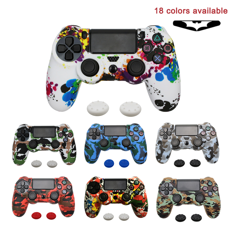 For PS4 Controller Gamepad Camo Silicone Cover Rubber Skin Grip Case Protective For Playstation 4 Joystick With Led Light Bar