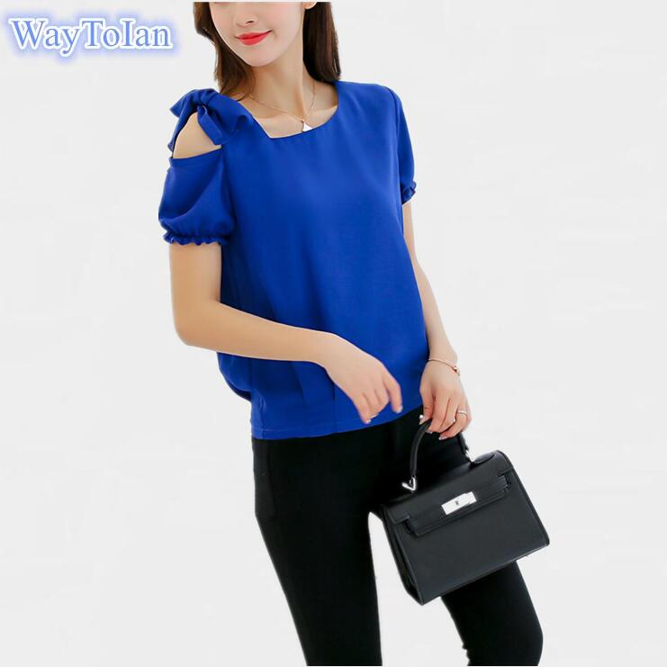 968c2dc60323 WayToIan Women Summer Tops Short Sleeve Feminine Blouses Loose Ruffle Blue Shirt  Fashion Chiffon Blouse For