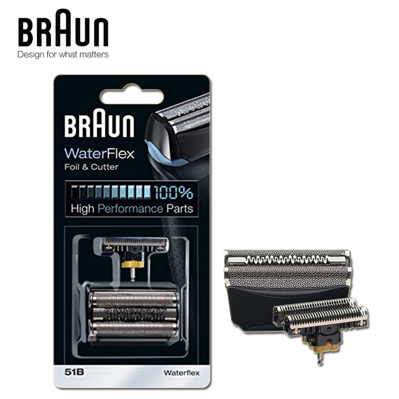 Braun Shaver Replacement Part 51B Compatible with WaterFlex Shavers Black Color