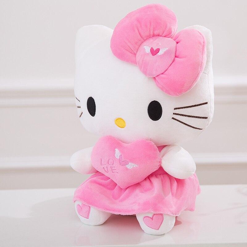 25 cm/30 cm/40 cm En Peluche Rose couleur bowknot Robe S'asseoir Bonjour Kitty En Peluche Poupée avec Coeur pour Bébé enfant fête d'anniversaire de jouets cadeau