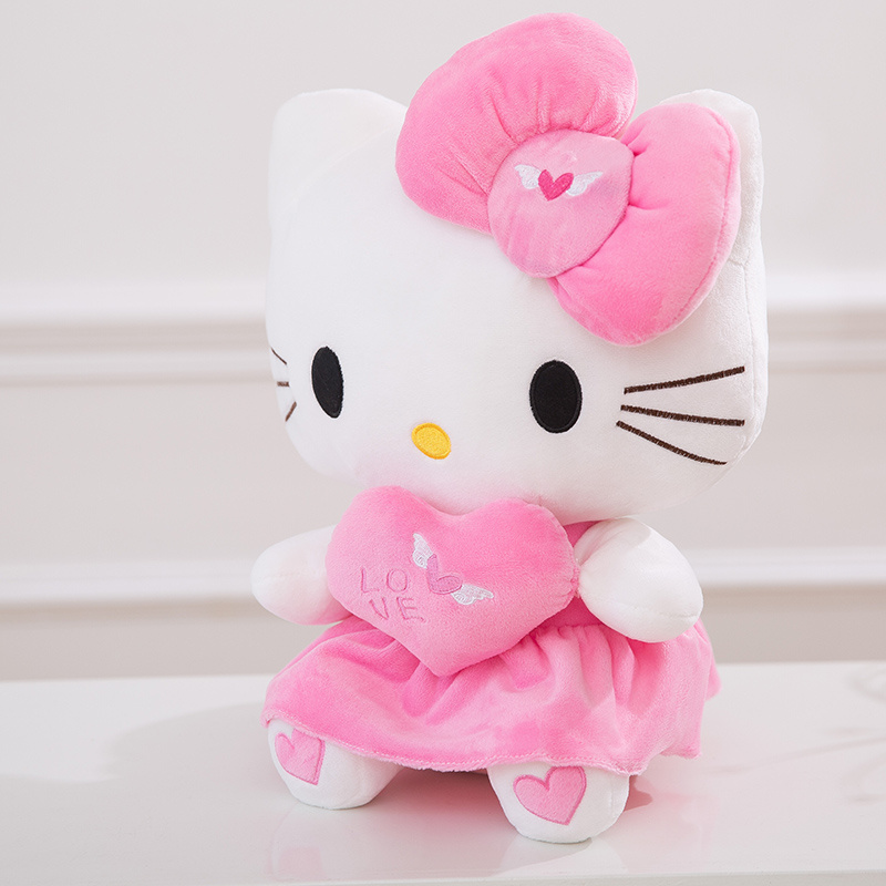 25cm/30cm/40cm Plush Pink color bowknot Dress Sit Hello Kitty Plush Doll with Heart For Baby child party birthday toys gift