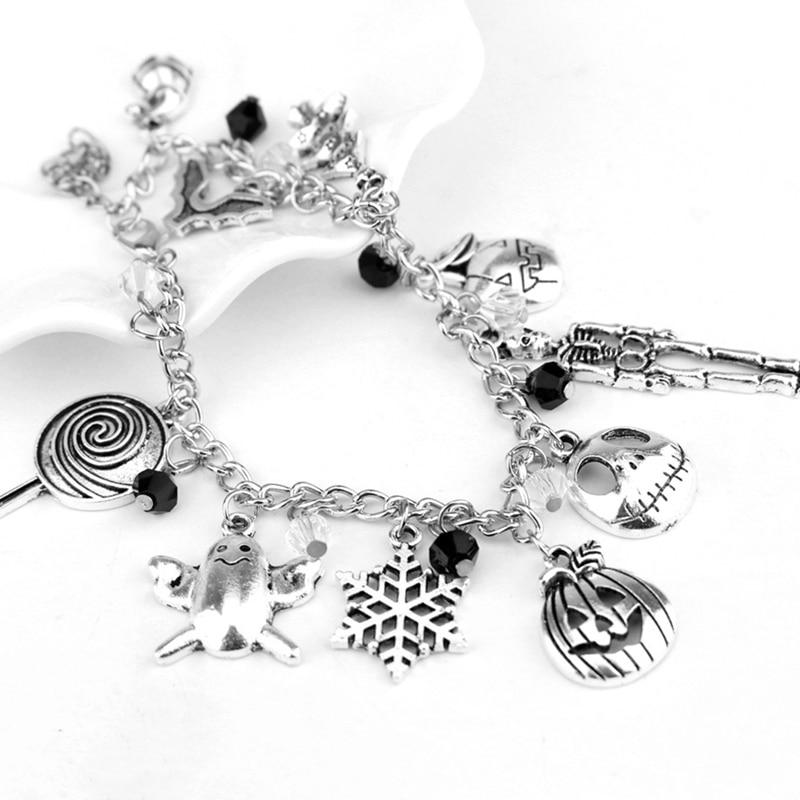 Fashion Nightmare Before Christmas Charm Bracelet Halloween Bat Ghost Snowflakes Skeleton Skull Pumpkin Bracelet Bangle