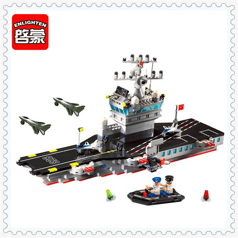 ENLIGHTEN 826 Military Series Aircraft Carrier Model Building Block 508Pcs Educational  Toys For Children Compatible Legoe aircraft carrier ship military army model building blocks compatible with legoelie playmobil educational toys for children b0388
