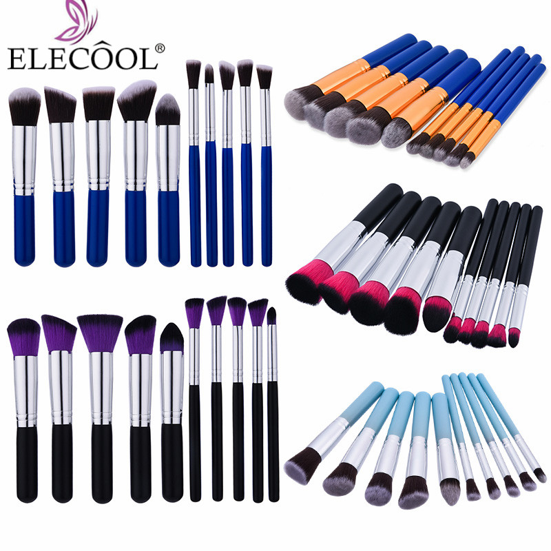 ELECOOL 10/4/1pcs Makeup Brushes Set Powder Foundation Eye shadow Lip Maquiagem Beauty Make up Brushes Cosmetics Hot saling