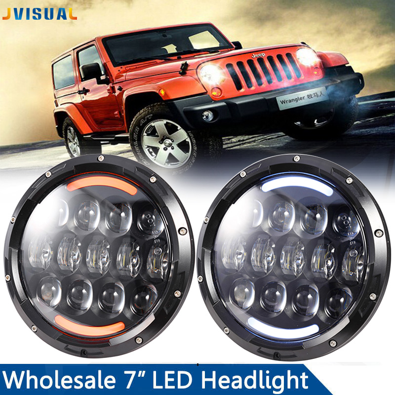 For Land Rover Defender Lada 4x4 urban Niva 105W 7inch round headlight Led For Jeep Wrangler JK TJ H1 H2 H3 LED Projector 75w 5d 7 inch round led projector daymaker headlight for jeep wrangler jk land rover defender 90