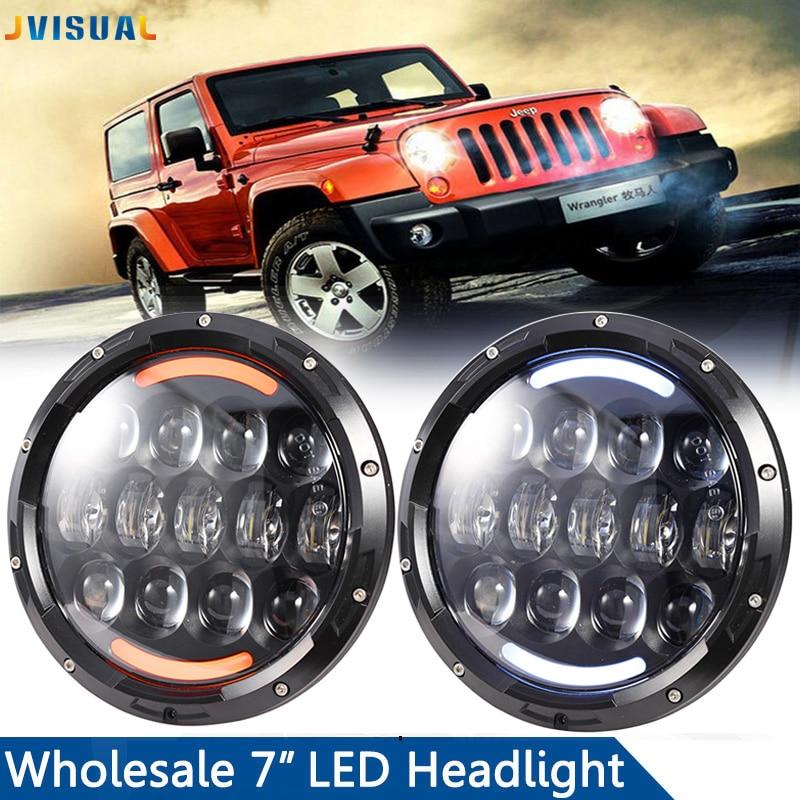 Pour Land Rover Defender Lada 4x4 urban Niva 105 W 7 pouces rond phare LED pour Jeep Wrangler JK TJ H1 H2 H3 projecteur LED