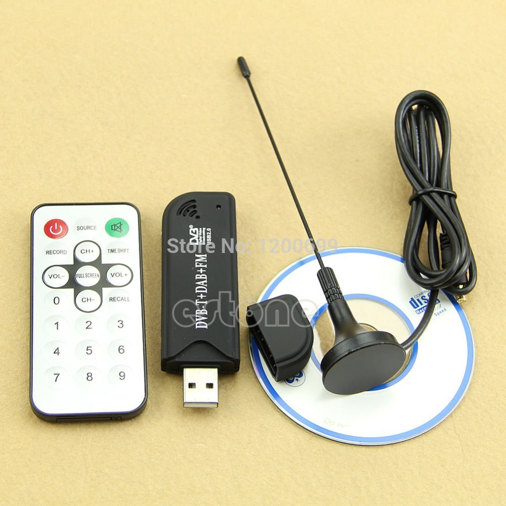 USB2.0 Digital DVB-T SDR+DAB+FM HDTV TV Tuner Receiver Stick HE RTL2832U + FC0012 rtl2832u r820t mini dvb t dab fm usb digital tv dongle white silver