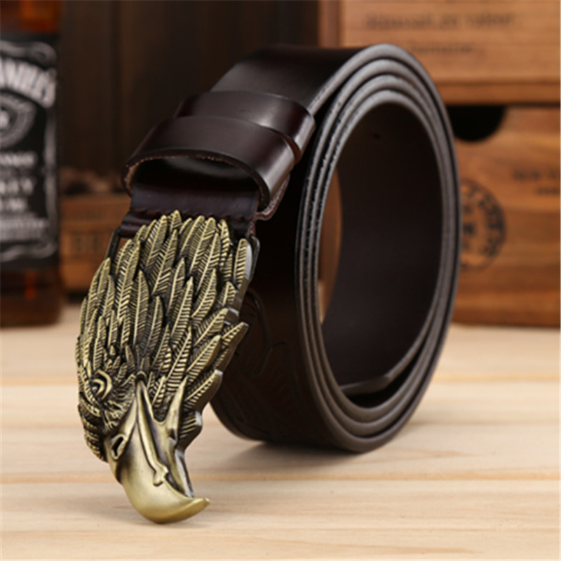 Luxury Eagle Head Smooth Buckle Belts Fashion Men Cowhide Leather Belts High Quality Eagle Printing Belt Width 3.8 CM