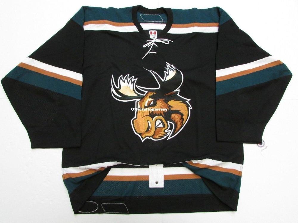 Manitoba Alce Equipe Emitido Premier Preto Personalizado Duplo Costurado Jerseys
