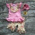 Детские Девушки Летняя одежда новорожденных девочек бутик одежды девушки роуз цветочные наряды лето рюшами шорты с соответствующими оголовье