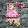 Meninas do bebê roupas de Verão meninas do bebê boutique de roupas meninas rosa floral roupas de verão ruffle shorts com headband correspondência