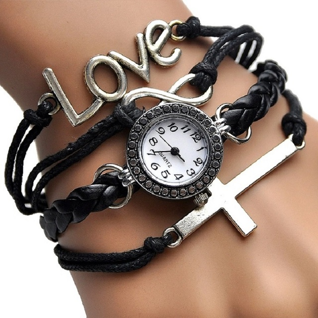 Gnova Platinum Top Christian Cross Bracelet Watch Women Vintage Fashion Paracord