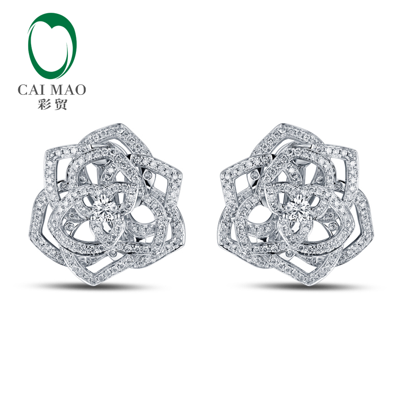 Free shipping Exquisite 1.49ct Diamonds 14kt White Gold Eternal Earring Jewelry