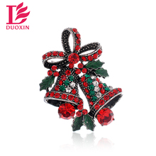 1x HIgh-end crystal rhinestone Christmas small bell brooch European Fashion Glazed Breastpin Women Christmas Gift Jewelry