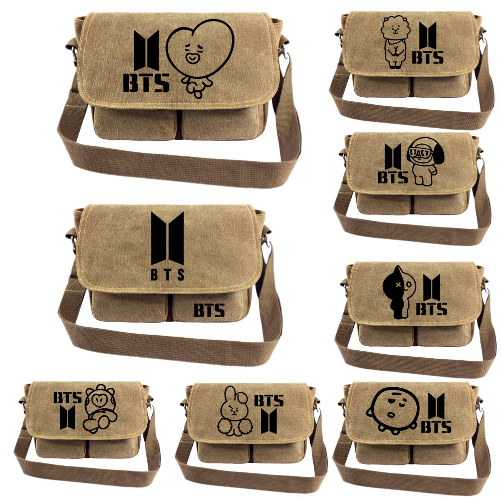 BTS mochilas kpop canvas cartoon Messenger bag BTS 21 student school bag vintage bagpack women shoulder bags casual travel bag bts kpop pu kpop bangtan boys schoolbag women bookbag shoulder bts exo xxoo got7 b a p bigbang tourism student canvas