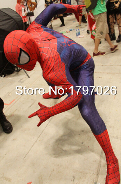 Full Body Lycra Spandex Superhero The Amazing Spiderman Pattern Zentai Suits Halloween Costume