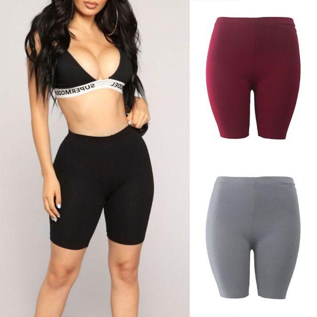 אופנה חדשה ליידי נשים מקרית כושר חצי גבוהה מותן מהיר יבש סקיני אופני מכנסיים קצרים 3 צבעים באיכות גבוהה