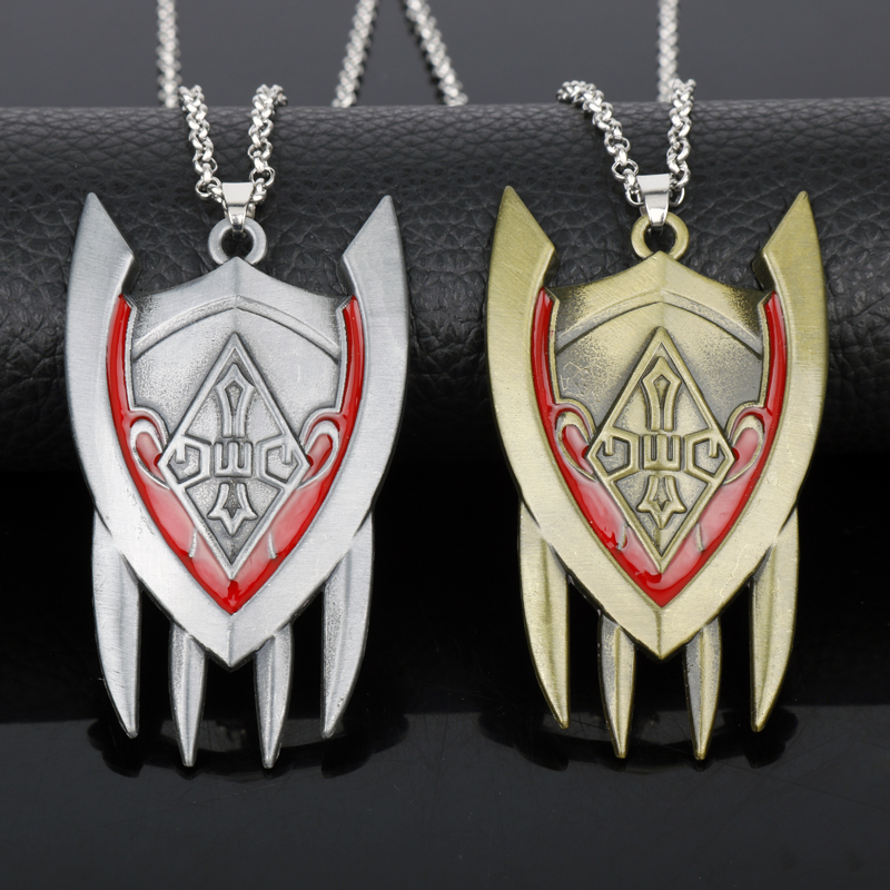 Hot Game Jewelry <font><b>League</b></font> <font><b>Legend</b></font> LOL The Half-Dragon Shyvana Shield Weapon Model Pendant Necklace <font><b>Cosplay</b></font> Accessories Gift For <font><b>Men</b></font> image