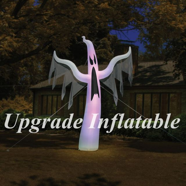 giant 15 ft tall color changing scary halloween inflatable ghost for yard decoration - Halloween Inflatable Yard Decorations