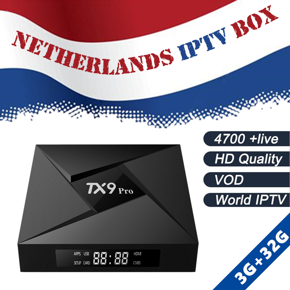 Dutch IPTV Box TX9 Pro 32G rom tv box android 7.1 TV Box Europe IPTV Netherlands Swedish Holland Subscription Smart IP TV Box купить