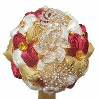 Artificial Flower Brooch Bouquet Silk Bride Bridal Wedding Bouquet Customizable Diamond Pearl Bridesmaid Bouquets W227Q