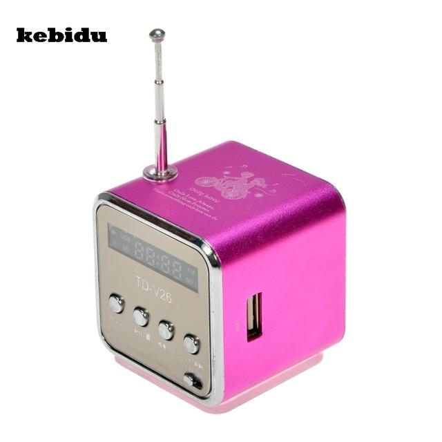 Kebidu TD-V26 Locutor de Rádio Portátil Com Display LCD Suporte cartão Micro SD/TF MP3 Music Player FM Digital Compatível para laptop