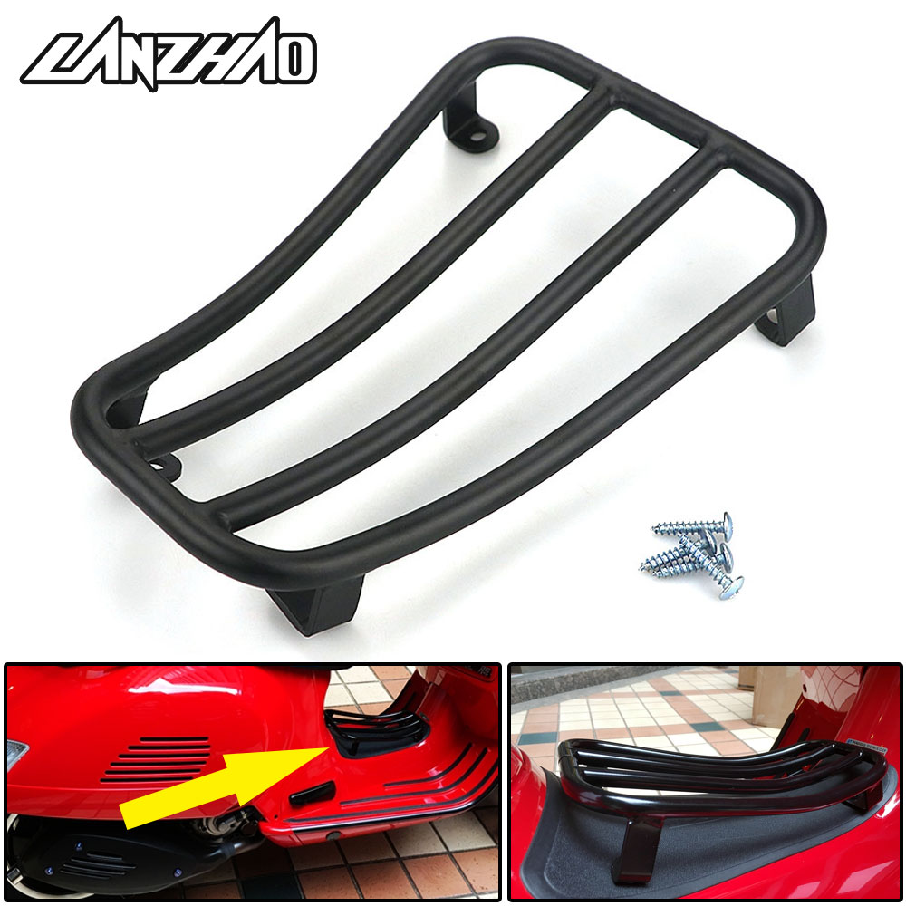 Motorcycle Foot Rest Luggage Rack Case Shelf Holder Black for Piaggio Vespa GTS 300 2017 2018