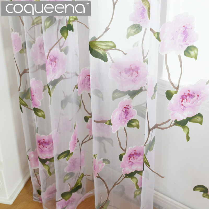 Pink Flowers Pattern Decorative Sheer Voile Tulle Curtains For Living Room  Bedroom Kitchen Door Window Country