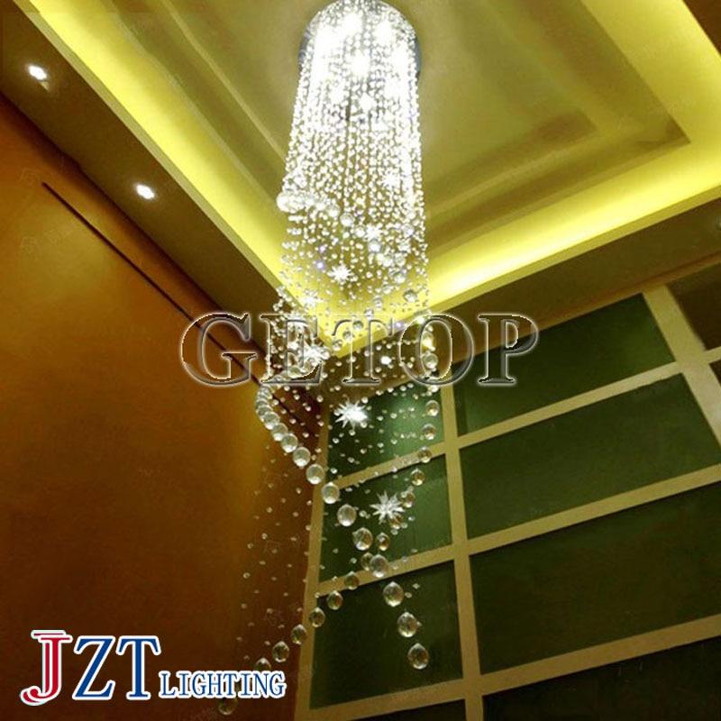 J best price mordern Duplex Staircase light Crystal Chandelier Villa Luxury Hotel Stair Pendant Lamp LED Spiral Long Droplight