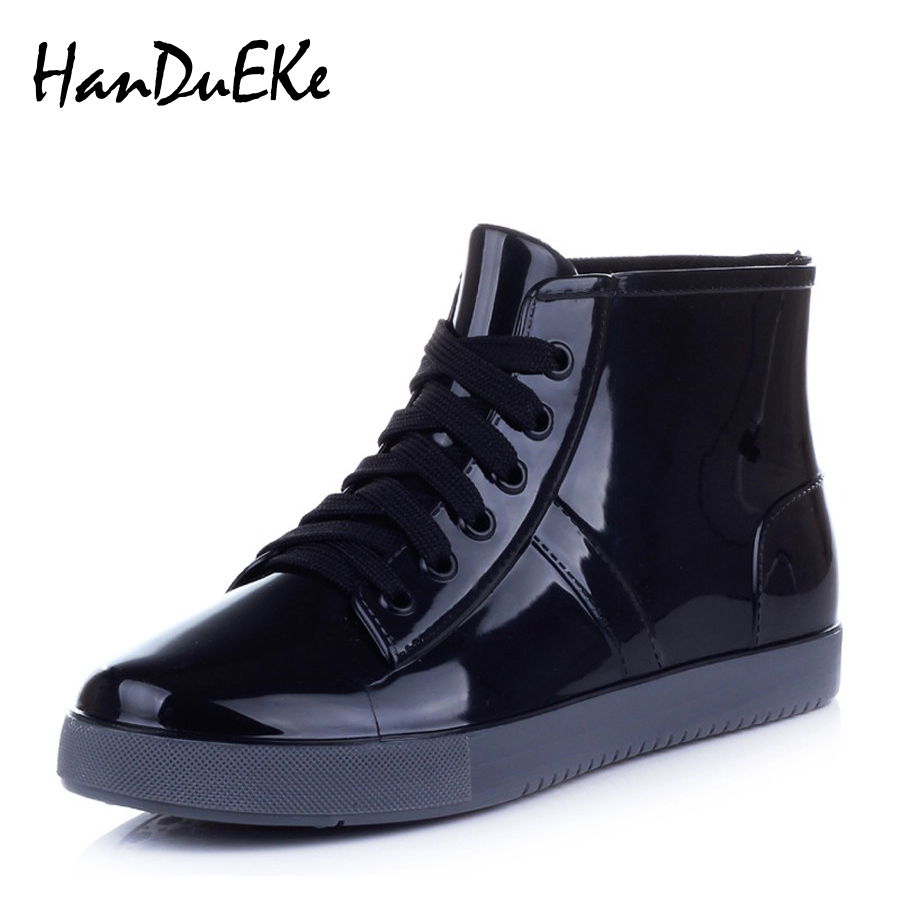 Lace Up Rubber Ankle Rain Boots Women Fashion Solid Flats ...