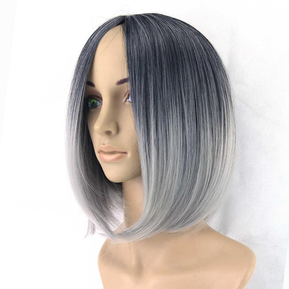 Omber парик серый парик черный серый короткий женский Парик Синтетический термостойкий парик для студенческой вечеринки