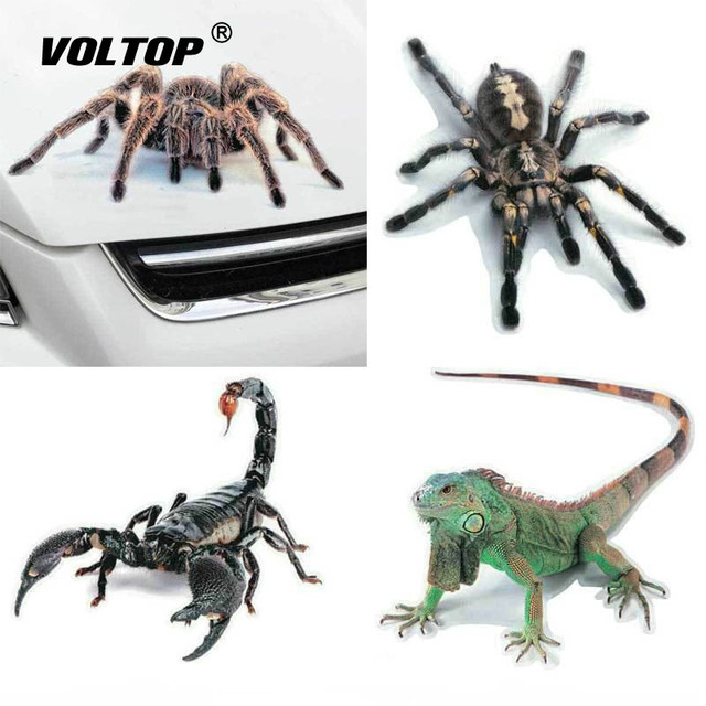 3D Car Sticker Animals Bumper Spider Gecko Scorpions Car styling Abarth Vinyl Decal Sticker Cars Auto Motorcycle Accessories