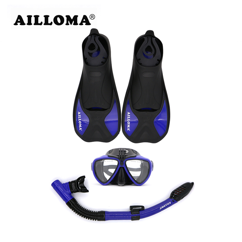 AILLOMA Anti-Fog Underwater Camera Scuba Diving Mask Snorkel Set Anti-skid Swimming Fins Flipper Full Dry Sports Breathing Tube tempered glass myopia snorkel set adult scuba diving mask gopro camera mount dry diving set deepgear brand scuba snorkel gears