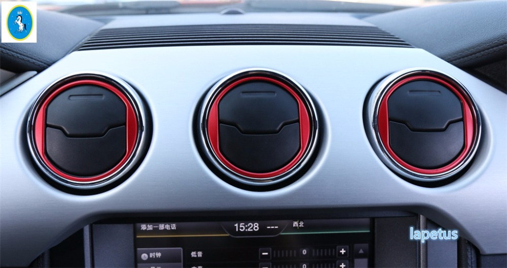 Lapetus Car Styling Central Control Air Vent Outlet Molding Trim 3 Color <font><b>Accessories</b></font> For Ford <font><b>Mustang</b></font> <font><b>2015</b></font> 2016 2017 2018 2019 image
