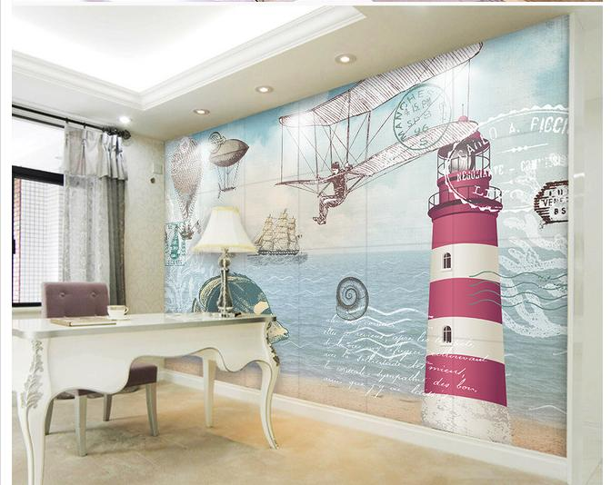 Customized 3d wallpaper 3d wall murals wallpape Nostalgic hand-painted navigation beacon TV setting living room photo wallpaper