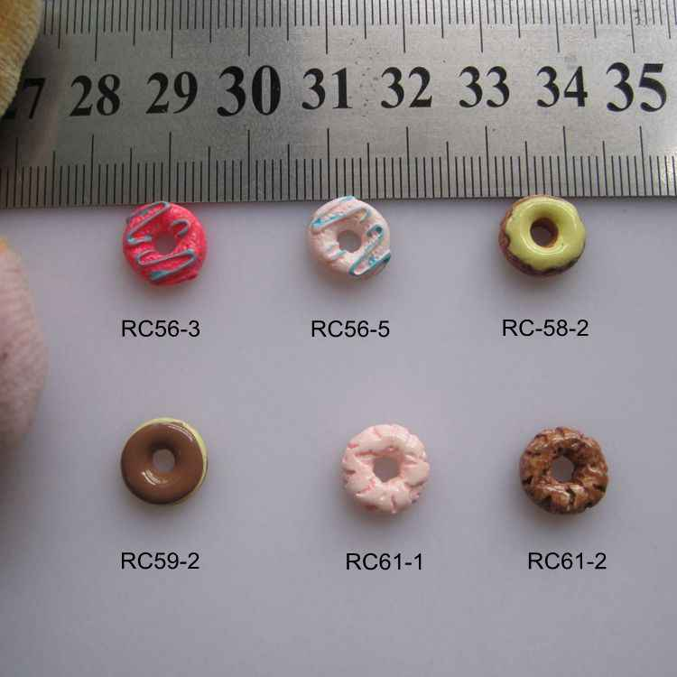 RC56-61 30pcs/bag Cartoon 10mm Chocolate Donuts Resin Cartoon Deco Nail Art Decoration Nail DIY Deco